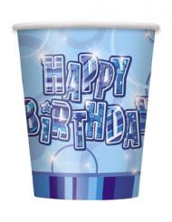8 gobelets bleus Happy Birthday métallisés