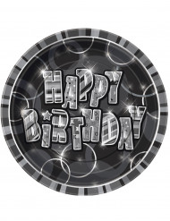 8 Assiettes en carton Happy Birthday grises 23 cm