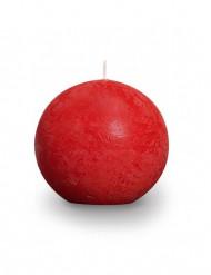 Grande bougie boule rustique rouge 12 cm de diamètre