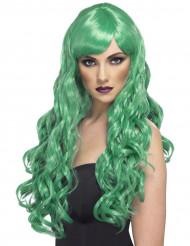 Perruque longue ondulée verte femme