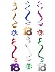 6 Décorations à suspendre spirale 18 ans