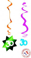6 Décorations à suspendre spirale 30 ans