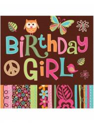 16 Serviettes en papier Anniversaire Hippie chick 33 x 33 cm