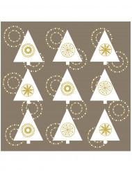 20 Serviettes en papier Sapin brillant taupe or 33 x 33 cm