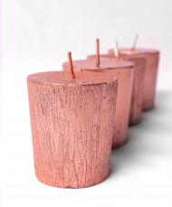 4 petites bougies cuivrées 4,5 cm de hauteur