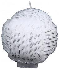 Bougie blanche boule motif imitation laine