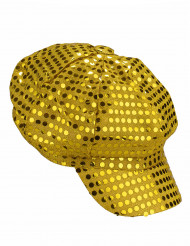 Casquette disco à sequins or adulte