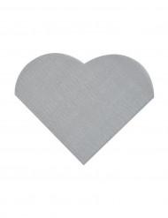 20 Petites serviettes coeur en papier argenté 9 x 12 cm