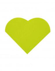 20 Petites serviettes coeur en papier vert 9 x 12 cm