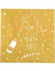 20 Serviettes en papier Que la fête commence Or 33 x 33 cm