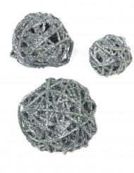Assortiment boules pailletées Argent
