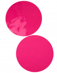 6 Sets de table rond fuchsia