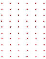 60 Perles autocollante rouge 7 mm