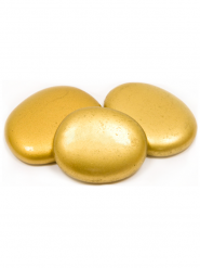 10 Marque-places galet de verre dorés 35 mm x 45 mm