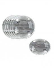 8 Sous-verres boules disco argentées