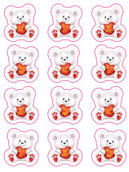 Stickers oursons Saint-Valentin