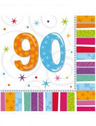 16 Serviettes en papier 90 ans 33 x 33 cm