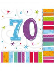 16 Serviettes en papier 70 ans 33 x 33 cm