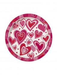 8 Petites assiettes en carton Cœurs du bonheur 18 cm
