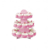 Support rose 24 cupcakes 3 étages