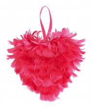 Coeur en plumes fuchsia