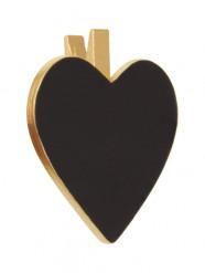 6 coeurs ardoises sur pince dorés