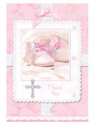 8 Cartes de remerciements roses pour fille