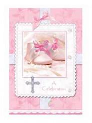 8 Cartes d'invitation roses Baptême fille
