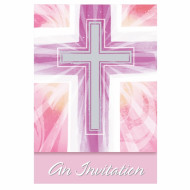 Cartes d'invitation communion rose