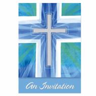 Carte d'invitation communion bleu