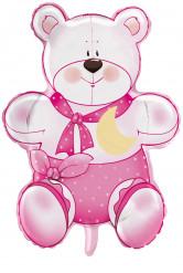 Ballon aluminium ourson rose Teddy 1 an fille