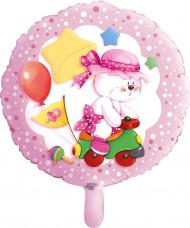 Ballon aluminium Teddy 1 an fille