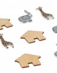 9 confettis de table bois animaux