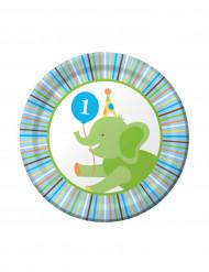 8 Petites assiettes en carton Animaux Premier Anniversaire Garçon 18 cm