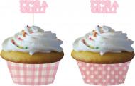 12 moules cupcake papier rose
