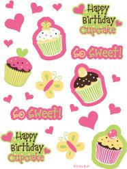4 Stickers Cupcake Anniversaire