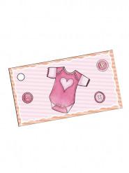 10 étiquettes papier body rose Baptême Fille