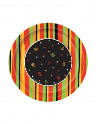 8 Petites Assiettes en carton Fiesta stripes 18 cm