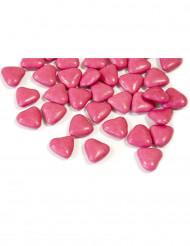 Dragées mini coeur chocolat couleur fuchsia