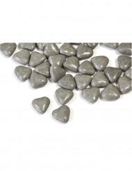 Dragées mini coeur chocolat couleur gris