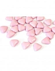 Dragées mini coeur chocolat couleur rose clair