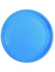 12 Assiettes bleues en plastique 25 cm