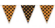 Guirlande fanions à pois noir et orange