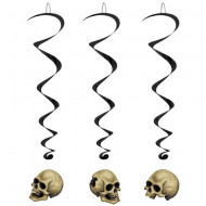 3 Décorations à suspendre têtes de mort