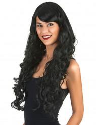 Perruque glamour longue noire avec boucles femme