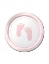 8 Petites assiettes en carton pieds roses 18 cm