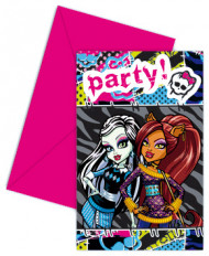 6 Cartes invitation + enveloppes Monster high™