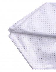 Nappe carrée en tissu blanc et argent 140 x 140 cm