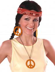 Boucles d'oreilles et pendentif Hippie orange
