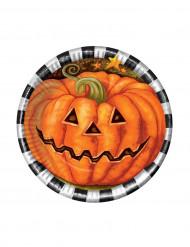 6 Petites assiettes en carton Citrouille Halloween 18 cm